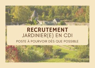 OFFRE D'EMPLOI - JARDINIER (H/F) - CDI